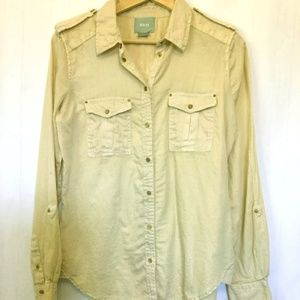 "Anthro Maeve Tan Sz 4 Cotton Soft ""Snaps"" Shirt"